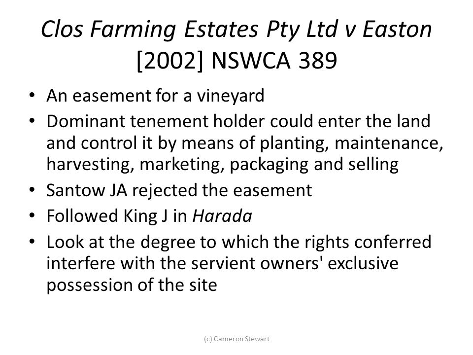Clos Farming Estates Pty Ltd v Easton [2002] NSWCA 389